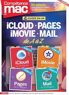 Booklet's front page - Compétence Mac 55 • 4 guides en 1 : iCloud • Pages • iMovie • Mail